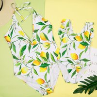 1-piece Lemon Floral Printed Hollow Out Swimsuit for Mom and Me