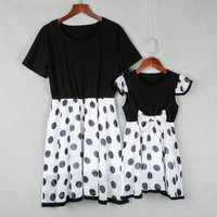 Mommy and Me Short-sleeve Polka Dots Tulle Matching Dress