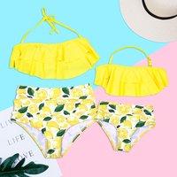Mom and Me Layered Lemon Matching Bikini in Yellow