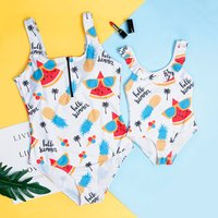 Mommy  and Me Allover Printed Onepiece Matching Swimsuit