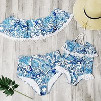 Mommy and Me Blue and White Floral Matching Swimsuit