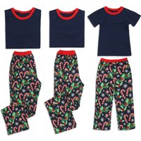 Candycane Print Short-sleeve Family Matching Pajamas