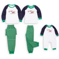 Funny Santa Striped Family Pajamas in Green