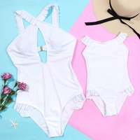 Mom and Me Ruffled One-piece Matching Swimsuit in White