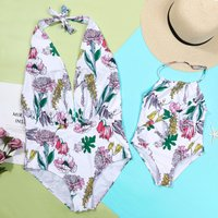 Mommy and Me Charming Floral Halter Swimsuit