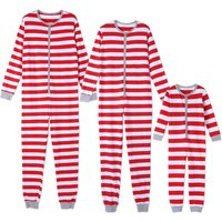 Comfy Red and Grey Striped Onesie Pajamas Family Matching