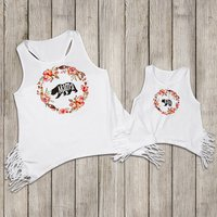 Mommy and Me Floral Bear Print Tassel Matching Tank Top