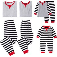 Trendy Long-sleeve Striped Matching Pajamas in Grey