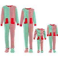 Lovely Footed Contrast Stripes Christmas Pajamas