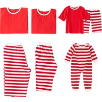 Comfy Short-sleeve Striped Matching Pajamas in Red