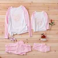 Sweet Heart Graphic Matching Pajamas in Pink