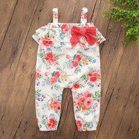 Ruffle Floral Strap Jumpsuit with Bow