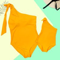 Mom and Me One Shoulder Matching Swimsuit in Yellow