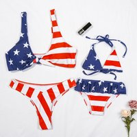 Mommy and Me American Flag Pattern Matching Bikini