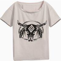 Stylish Bullhead Print T-shirt in Grey for Girls