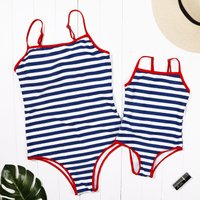 Mommy and Me U Shape Backless Striped Matching Swimsuit