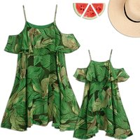 Mommy and Me Leaves Charm Matching Dress in Green