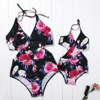 Mommy and Me Chic Crossover Floral Matching Swimsuit