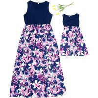 Mom and Me Sweet Lily Flower Print Matching Maxi Dress