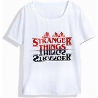 Trendy Letter Print T-shirt in White for Unisex