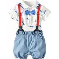 Polo Bodysuit and Striped Suspender Shorts