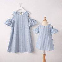 Trendy Cold Shoulder Striped Matching Dress for Mom and Me