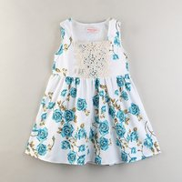 Sweet Lace Front Floral Sleeveless Dress for Baby and Toddler Girl