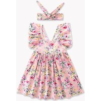 Pretty Floral Backless Ruffle-sleeve Dress with Headband for Baby and Toddler Girl
