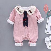 Cute Necktie Design Striped Romper for Baby Girl