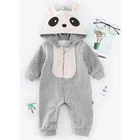 Lovely Animal Design Long-sleeve Hooded Jumpsuit for Baby