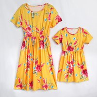 Pretty Floral Short-sleeve Mommy and Me Dress