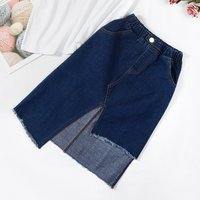 Chic Irregular Hem Elastic Waistband Denim Skirt