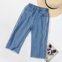Chic Fringed Elastic Waistband Loose Jeans for Girls