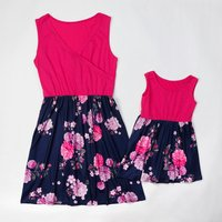Mommy and Me Chic V-neck Floral Printed Matching Dress in Rosy
