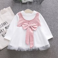 Adorable Bowknot Long-sleeve Tulle Dress for Baby Girl