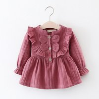 Solid Ruffled Bowknot Buttons Front Princess Dress