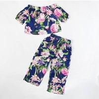2-piece Trendy Floral Off Shoulder Top and Pants Set for Toddler Girl
