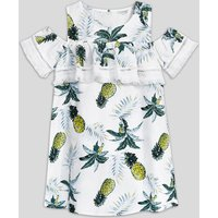 Casual Pineapple Print Tassel Cold Shoulder Short Sleeves Dress for Girl