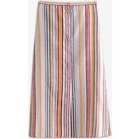 Fashionable Striped Front Buttons High Waist Maxi Skirt