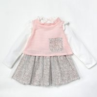 Sweet Ruffled Collar Faux-two Knitted Tulle Dress for Baby Girl