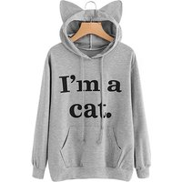 Cute Cat Letter Print Long-sleeve Hoodie for Women