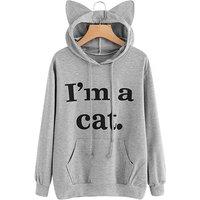 Cute Cat Letter Print Long-sleeve Hoodie for Women