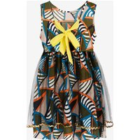 Stylish Scrawl Printed Back Bowknot Sleeveless Tulle Dress