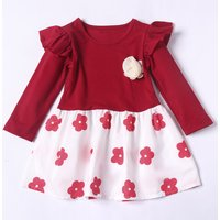 Sweet Pearl Necklace Decor Long-sleeve Floral Dress for Toddler Girl
