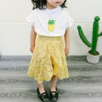 2-piece Latest Ruffled Pineapple Applique Tee and Lace Skirt Set for Baby Girl