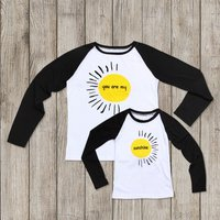 YOU ARE MY SUNSHINE Long-sleeve Matching Tee in White for Mommy and Kids