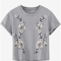 Casual Flower Embroidered Round Collar Short Sleeves Tee for Girls
