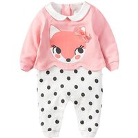 Baby Girl's Fox and Polka Dotted Long Sleeve Jumpsuit in Pink