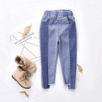 Latest Asymmetric Hem Color Blocked Jeans for Toddler Girl