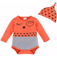 Adorable Printed Cotton Orange Bodysuit and Beanie Set for Baby